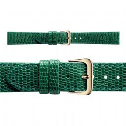 Genuine Lizard Grain Green Leather Watch Strap